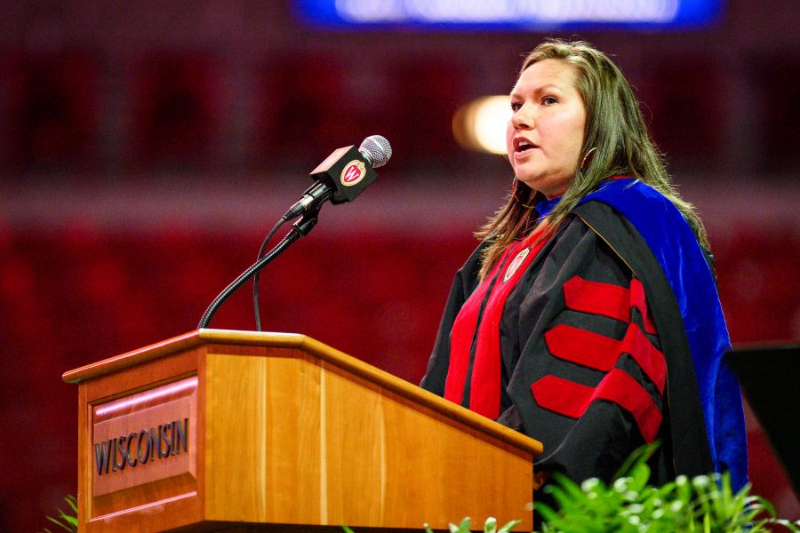 Kasey Keeler, professor in the School of Human Ecology, discusses the Native American heritage of the UW during the Chancellor's Convocation for New Students, a Wisconsin Welcome event held at the Kohl Center at the University of Wisconsin-Madison on Sept. 3, 2019.