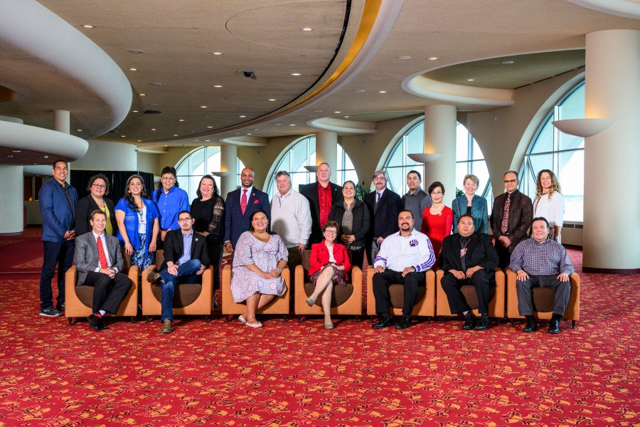 Wisconsin tribal leaders and officials from the University of Wisconsin-Madison are pictured in a group photo during a Native Nations Summit held at the Monona Terrace Community and Convention Center in Madison, Wis., on May 10, 2019.