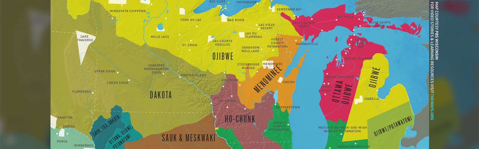 map that shows the extent of tribal lands today and circa 1800 in the Midwest